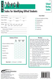 SIGS School Rating Scales Form (Set of 25): Scales for Identifying Gifted Students