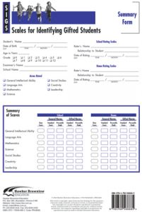 SIGS Summary Forms (Set of 25): Scales for Identifying Gifted Students