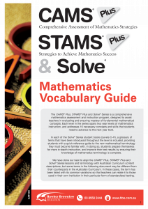Catalogue: CAMS Plus, STAMS Plus & Solve Mathematics Vocabulary Guide