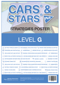 CARS & STARS Plus Strategies Poster: Level G